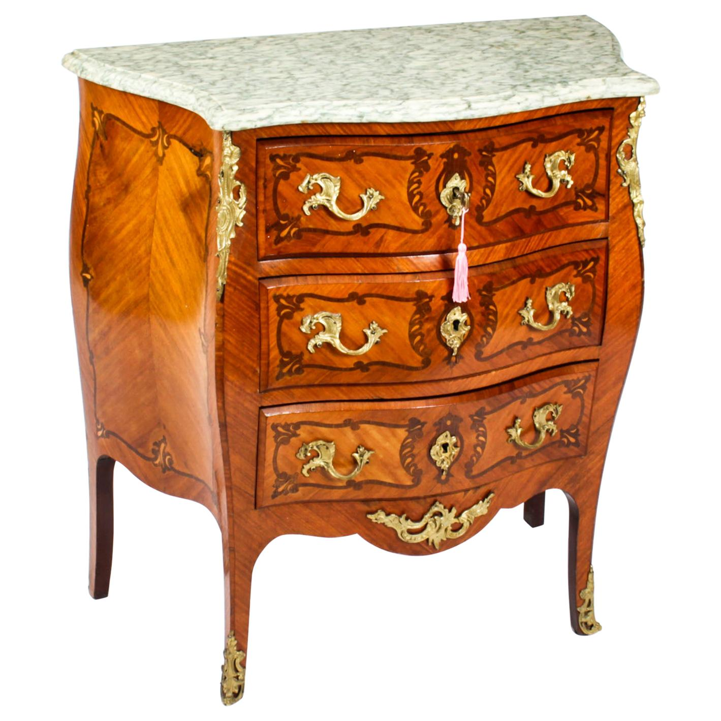 Antique French Louis Revival Marquetry Commode, 19th Century