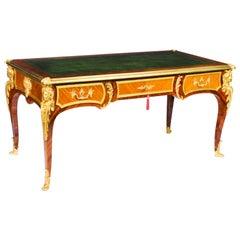 Antique French Louis Revival Ormolu Bureau Plat Desk, 19th C