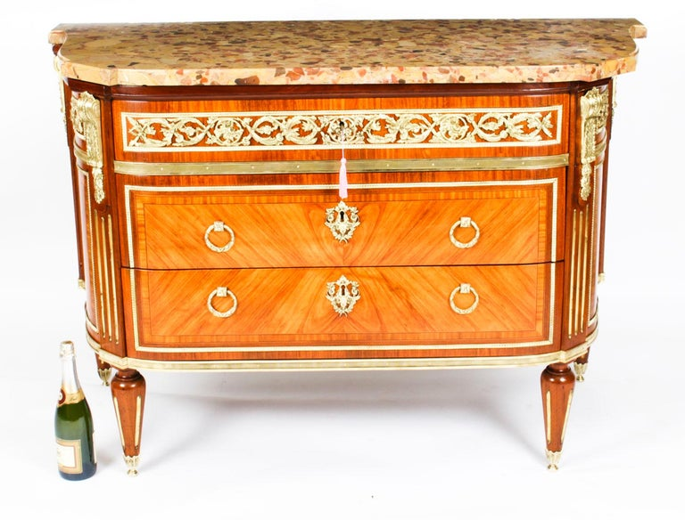 Antique French Louis Revival Ormolu Mounted Commode Chest, 19th C 9