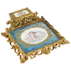 French Louis Revival Ormolu & Sevres Porcelain Inkstand, 1870, 19th Century