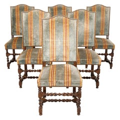 Antique French Louis XIII Style Barley Twist Dining Side Chairs, Set of Six