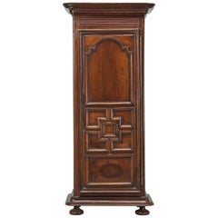 Antique French Louis XIII Style Bonnetière or Small Armoire in Figured Walnut