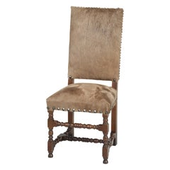 Antique French Louis XIII Style Cow Fur on Hide Side Chair