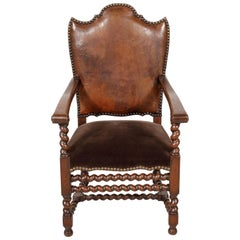 Antique French Louis XIII Style Leather and Mohair Barley Twist Armchair