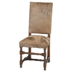 Antique French Louis XIII Style Side Chair Covered in Cow Fur on Hide