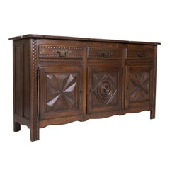 Antique French Louis XIII Style Solid Oak Enfilade Buffet from Brittany