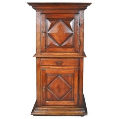 Antique French Louis XIII Walnut Cabinet / Armoire / Bonnetiere, circa 1750