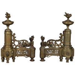 Antique French Louis XIV Brass Fireplace Urn, Scroll and Foliate Chenets