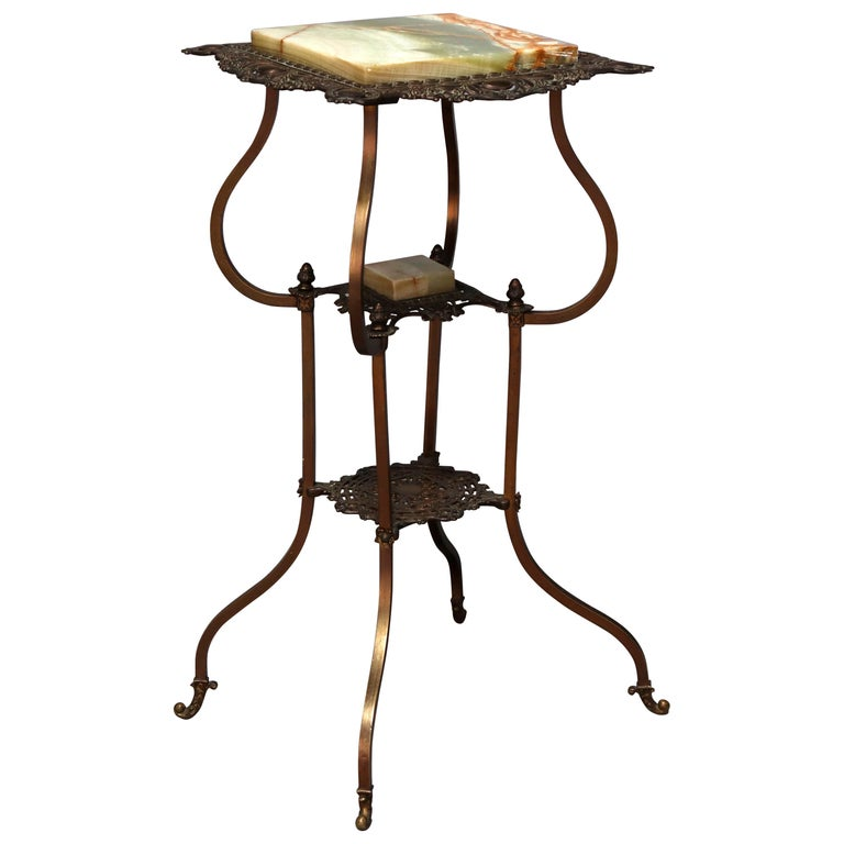 Antique French Louis XIV Bronze and Onyx Plant Stand, circa 1880 For Sale