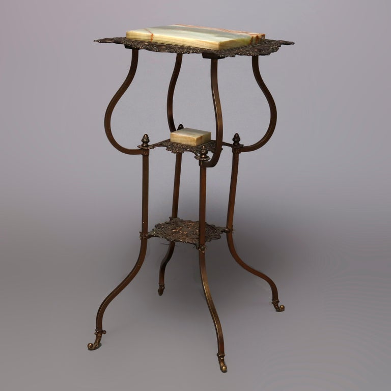 Antique French Louis XIV Bronze and Onyx Plant Stand, circa 1880 In Good Condition For Sale In Big Flats, NY