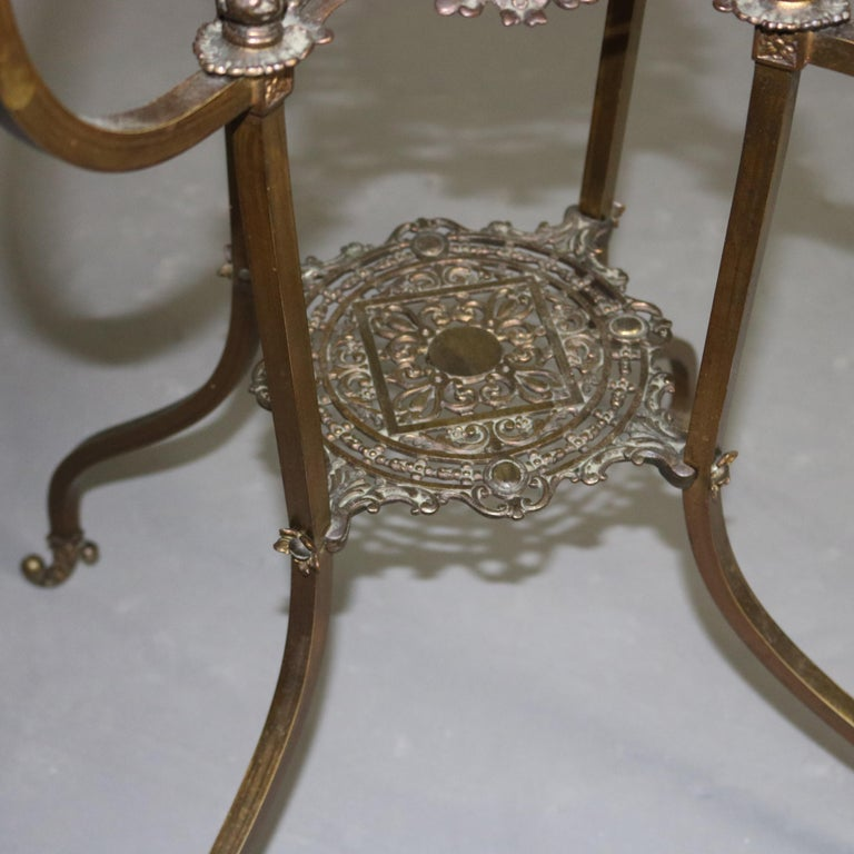 19th Century Antique French Louis XIV Bronze and Onyx Plant Stand, circa 1880 For Sale