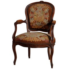 Antique French Louis XIV Carved Walnut & Needlepoint Fauteuil, 19th Century