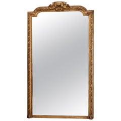 Antique French Louis XIV Giltwood Pier Mirror, circa 1880