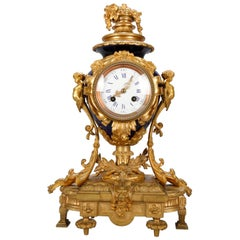 Antique French Louis XIV Figural Gilt Bronze and Porcelain Mantle Clock