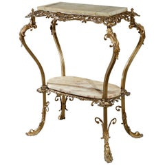 Antique French Louis XIV Gilt Bronze and Onyx Side Table, circa 1890