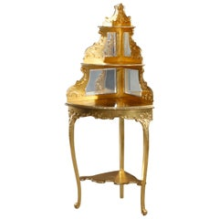 Antique French Louis XIV Giltwood 'Gold Leaf' Corner Étagère, Circa 1890