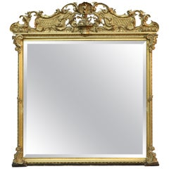 Antique French Louis XIV Gold Giltwood over Mantle Mirror, circa 1890