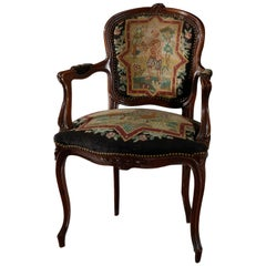 Antique French Louis XIV Needlepoint Fauteuil Armchair, circa 1920