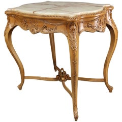 Antique French Louis XIV Painted Carved Giltwood Onyx Top Center Table