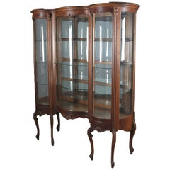 Antique French Louis XIV Serpentine Flame Carved Mahogany China Cabinet