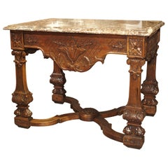 Antique French Louis XIV Style Gibier Table in Carved Oak, circa 1870