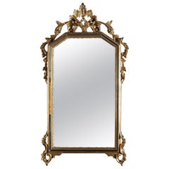 Antique French Louis XIV Style Giltwood Parclose Wall Mirror, circa 1920