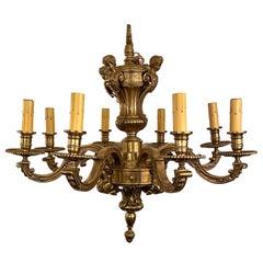"Antique French Louis XIV Style Gold Bronze ""Mazarin"" Chandelier, Circa 1880-1890"