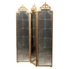 Antique French Louis XIV Style Labarge Giltwood Dressing Screen, 20th C