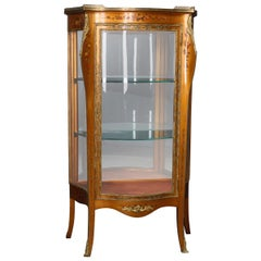French Louis XIV Style Paint Decorated and Ormolu MIrrored Vitrine, circa 1890