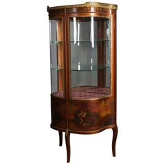 Antique French Louis XIV Vernis Martin School Demilune Vitrine, circa 1890