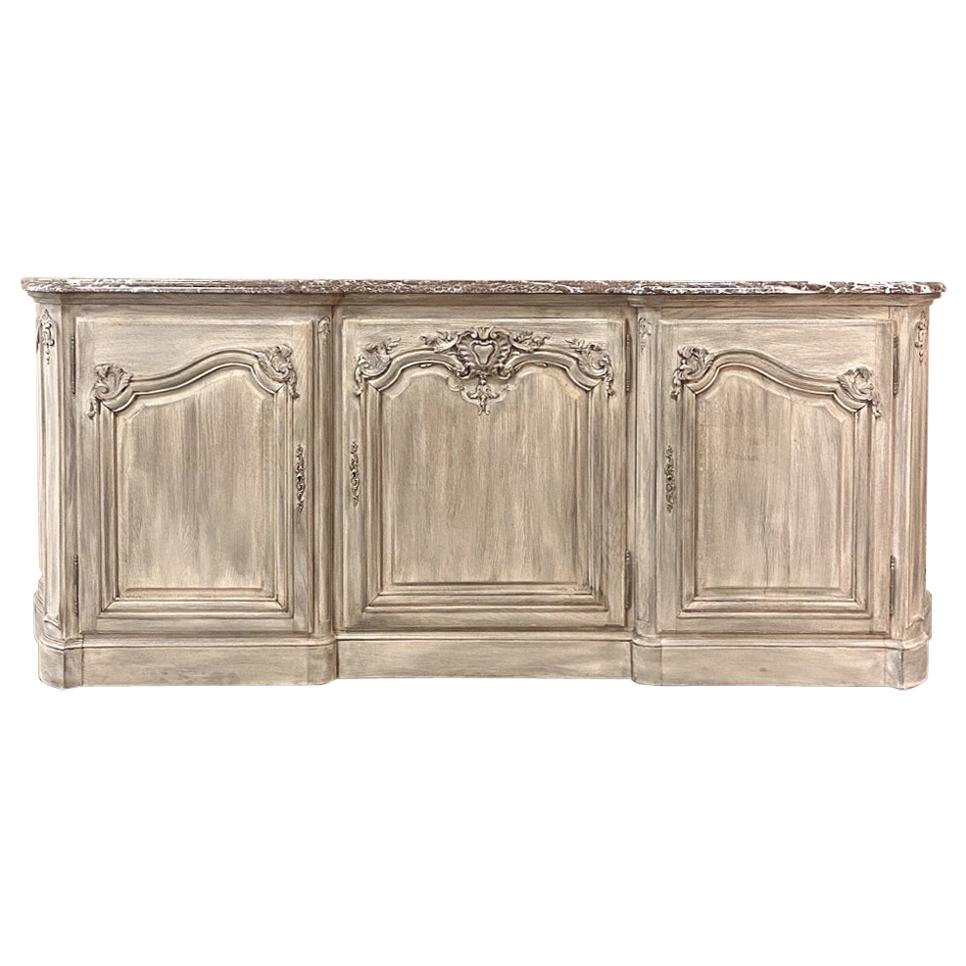 Antique French Louis XIV Whitewashed Marble-Top Buffet or Credenza