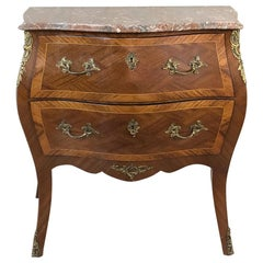 Antique French Louis XV Bombe Marquetry Marble-Top Commode