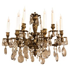 Antique French Louis XV Bronze and Crystal Chandelier