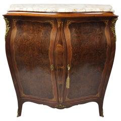 Antique French Louis XV Burlwood Italian Bombe Wardrobe Armoire Dresser Cabinet