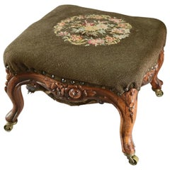 Antique French Louis XV Carved Fruitwood and Floral Needlepoint Footstool