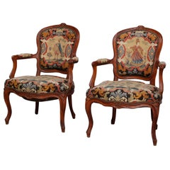 French Louis XV Carved Fruitwood & Pictorial Needlepoint Fauteuils, circa 1790
