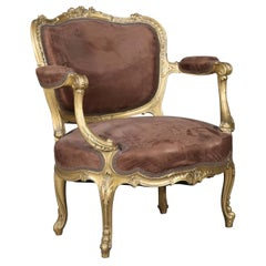 Antique French Louis XV Carved Giltwood Large Fauteuil 'Chair-and-a-Half'