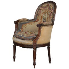 Antique French Louis XV Carved Mahogany and Tapestry Armchair, circa 1875