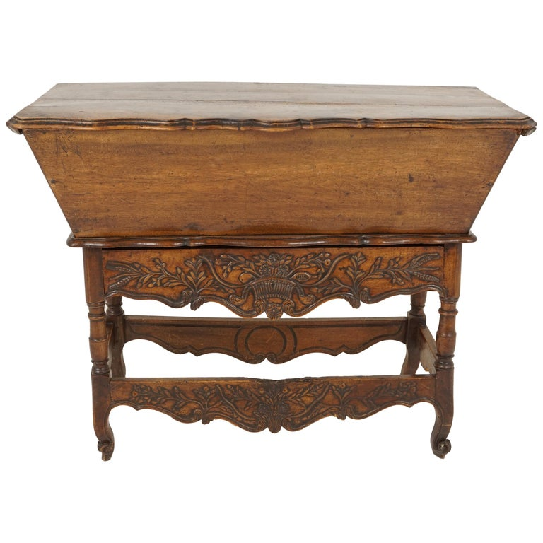 Antique French Louis XV Carved Walnut Dough Box, France, 1880, B2503 For Sale