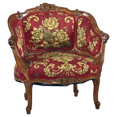 Antique French Louis XV Carved Walnut French Bergère Armchair, 18th Century