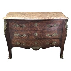 Antique French Louis XV Diamond Marquetry Commode Chest of Drawers