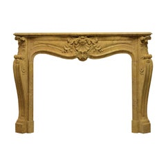 Antique French Louis XV Fireplace Mantel, 19th Century