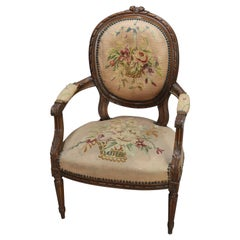 Antique French Louis XV Fruitwood and Needlepoint Armchair, 19th Century