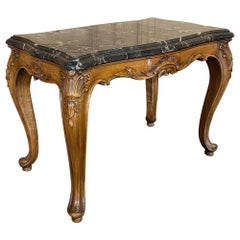 Antique French Louis XV Fruitwood Marble Top Cocktail Table