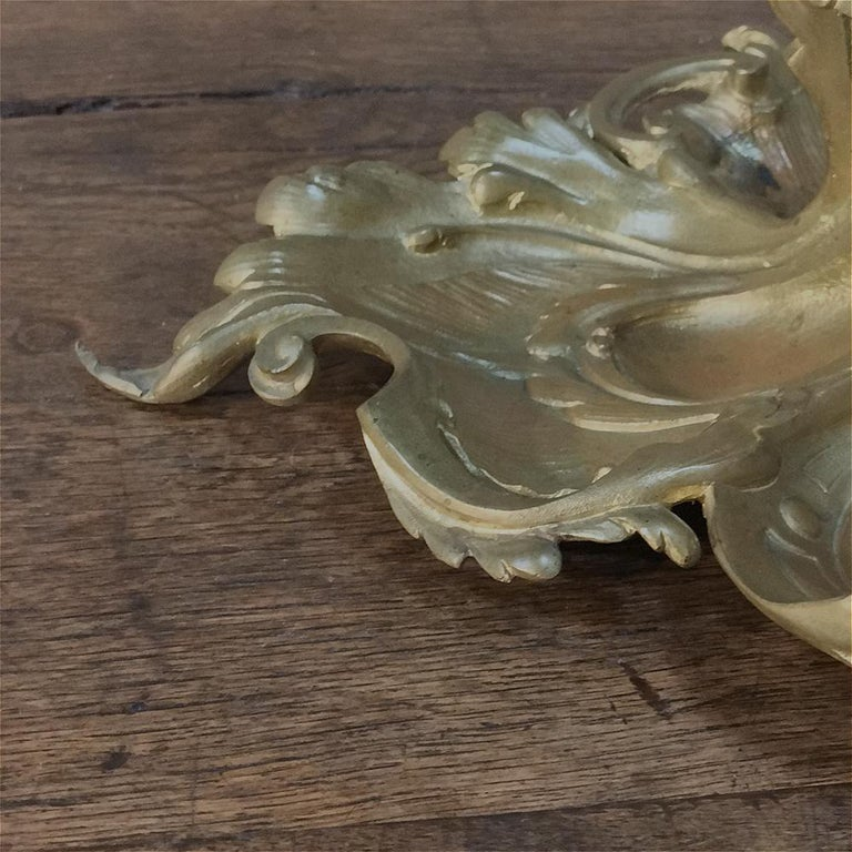 Antique French Louis XV Gilded Bronze Inkwell For Sale 6