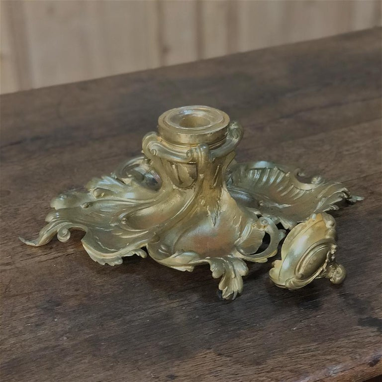Antique French Louis XV Gilded Bronze Inkwell For Sale 1