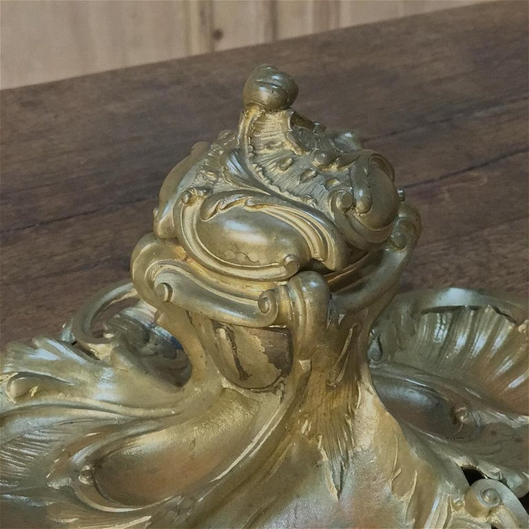 Antique French Louis XV Gilded Bronze Inkwell For Sale 3