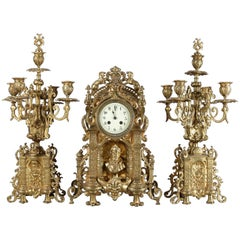 Antique French Louis XV Gilt Bronze Clock & Candelabra Garniture Set, circa 1855