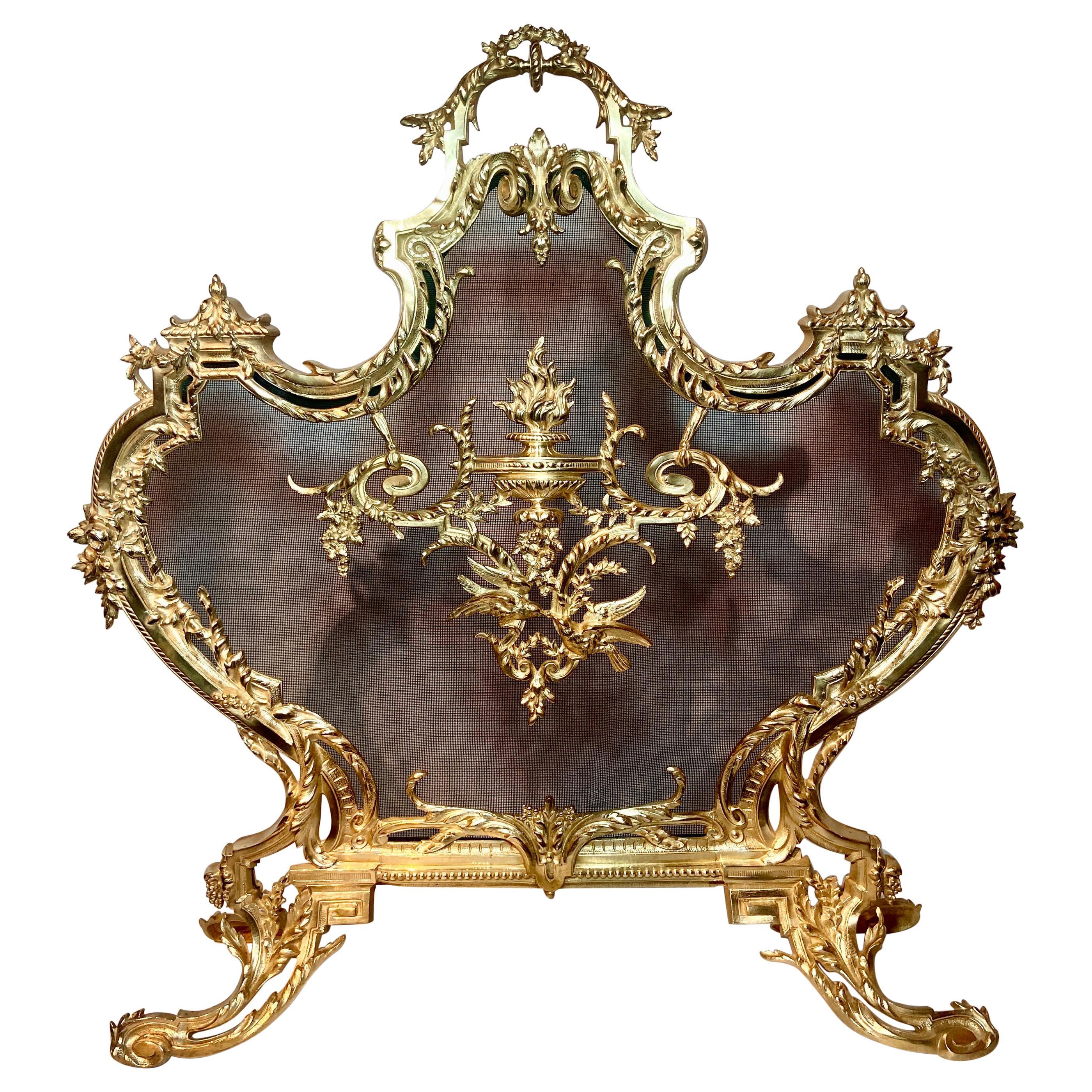 Antique French Louis XV Gold Bronze Fire Screen, Circa 1880.