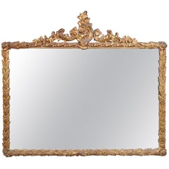 Antique French Louis XV Gold Gilt Rococo Over Mantel Wall Mirror Ornate